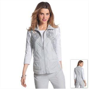 Zenergy by Chico's | Grey Striped Lace Light Vest